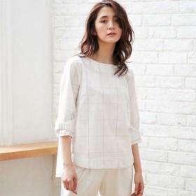 シャツ ブラウス レディース 春の定番商品 綿混素材の袖リボンブラウス 「オフホワイト系(チェック)」