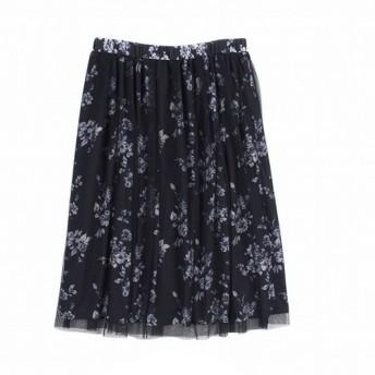 スカート レディース ロング 花柄プリントチュールスカート 「ネイビー」