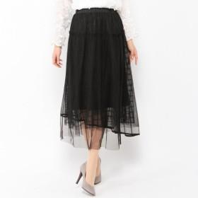 スカート レディース ロング ボリュームチュールスカート ペチコート付き  「ブラック」