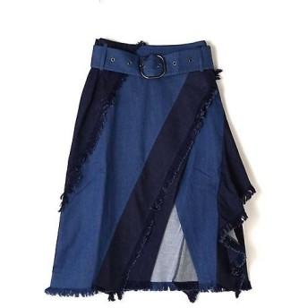 ROSE BUD / ローズ バッド 2トーンフレアラップデニムスカート