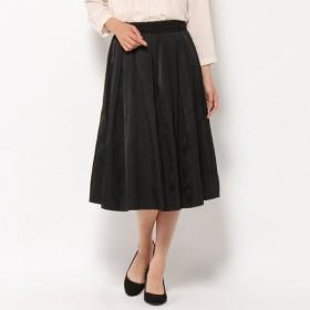 スカート レディース ロング 大人の女性のための艶感メモリー風スカート 「ブラック」
