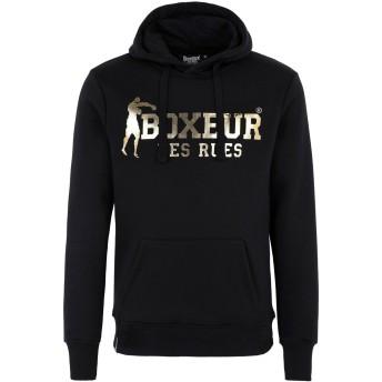 《期間限定セール開催中!》BOXEUR DES RUES メンズ スウェットシャツ ブラック L コットン 80% / ポリエステル 20% HOODED SWEATSHIRT WITH FRONT BIG LOGO