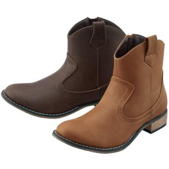 【格安-女性靴】レディースウエスタンショート丈ブーツ