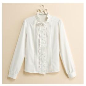 パウダーサテンスタンドフリル衿ブラウス (大きいサイズレディース)Shirts, 衫, 襯衫, plus size