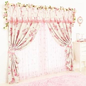 幅100×丈110 4枚組 4枚セット 遮光カーテン カーテンセット レースカーテン付 姫系 プリンセス 薔薇 SWEETローズ遮光付カーテンセット