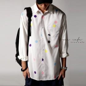 トップス シャツ 水玉 ドット カラードットシャツ・再再販。「G」 ##メール便不可
