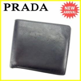 プラダ PRADA 二つ折り財布 財布 小物 サイフ レディース 【中古】 Y4459