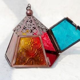 手綴じガラス燭台/ステンドグラス燭台/ヴィンテージ艶出しガラス燭台/モザイクガラス燭台 - ピラミッドステンドグラス燭台燭台