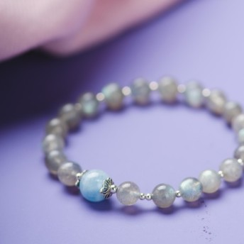 Labradorite, Aquamarine, 925 Natural Gemstone Bracelet