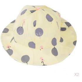 ノーブランド品 ベビー 帽子 水玉模様 バケットハット ビーチキャップ 快適 かわいい 贈り物 全3色選べる - 黄色