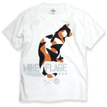 SCOPYネコTシャツ「MIKE-FLAGE」ホワイト
