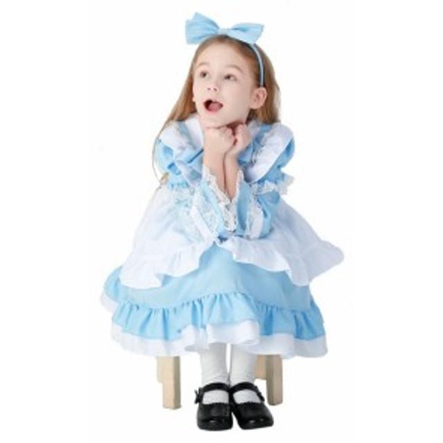 bcc9d6c1cba45 ハロウィンコスプレ コスチューム 不思議の国のアリス 長袖ワンピース 膝丈ワンピース フリルワンピース 女の子. トップ 子供用品 キッズファッション  その他