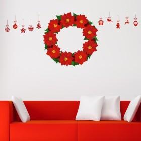 ウォールステッカー クリスマス Christmas 飾り 90×90cm Lsize シール式 装飾 オーナメント ツリー リース 2018 xmas Xmas 016691