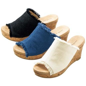 【格安-女性靴】レディースストーム付天然コルクフリンジミュールサンダル
