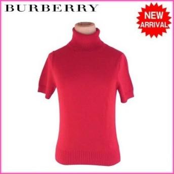 バーバリー BURBERRY ニット 服 半袖 リブ切替え レディース ホース刺繍 【中古】 F1279