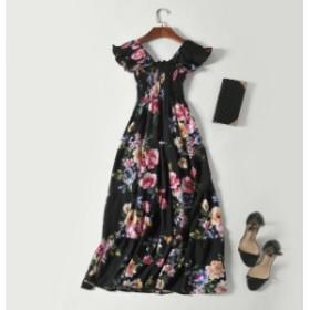 花柄 半袖 ゆったり ワンピース 可愛い きれいめ 楽ちん 体型カバー 上品 ビーチ 女子会 リゾート デート お呼ばれ