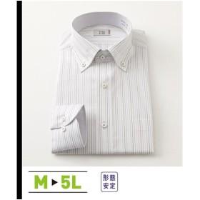 ワイシャツ ビジネス メンズ 消臭芯地使用形態安定 長袖 配色デザイン ボタンダウン  M/L/LL ニッセン