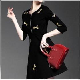 ドレスワンピース 黒 ミニ丈 七分袖 刺繍 ハーフジップ 結婚式 お呼ばれ デート 20代 30代 40代 秋冬