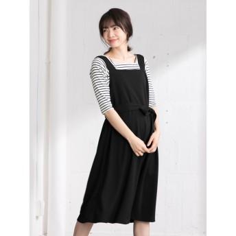 【ANGELIEBE/エンジェリーベ】(a.i.n)【授乳しやすい】インナーがとれるポンチジャンパースカート ブラック L