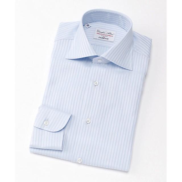 <フェアファクス/FAIRFAX> ワイドカラー/シャドーストライプ柄/長袖ドレスシャツ(03003) サックス 【三越・伊勢丹/公式】