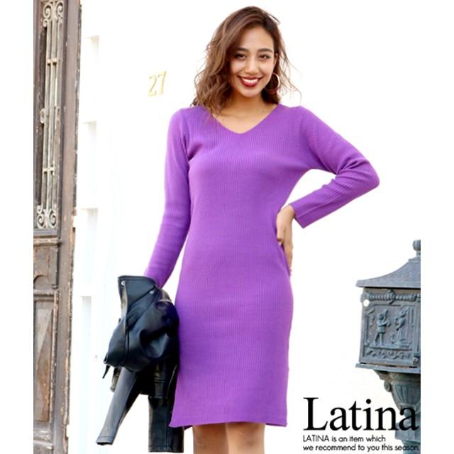 anap Latina Vネックサイドスリットリブニットワンピース