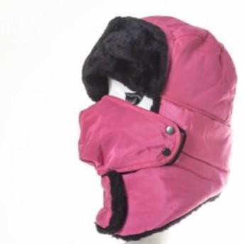 男女兼用 防寒対策 バイク 自転車 外出用 マスク付き ロシア帽 ファー帽子 ロシアンハット/首までカバー #ローズ 送料込