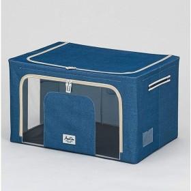武田コーポレーション 収納ボックス ネイビー  60×42×35cm 積み重ねできる窓付収納ボックスワイド (E8-TMS60NV)