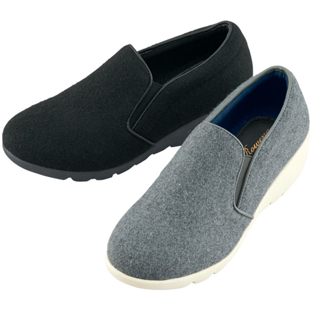 【格安-女性靴】レディース軽量フラノ調ウェッジカジュアルシューズ