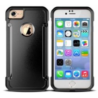 Apple iPhone 7 Plus iPhone 8Plus用 TPU製 衝撃減少 カラフルバンパー+カラー背面 保護ケース#ブラック 送料込