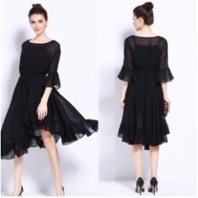 5Lサイズ ★大きいサイズ ゆったり 出かけ パーディー 司会 披露宴 オシャレランダム裾 シフォンワンピース ドレス