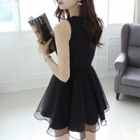 【Lサイズ/ブラック】ワンピース ドレス ノースリーブ レース 刺繍 ひざ丈 結婚式 エレガント セレブ お呼ばれ フォーマル