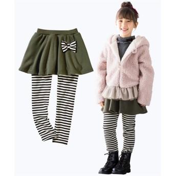 あったか裏シャギーリボン付スカッツ(女の子 子供服。ジュニア服) (スカート付パンツ)