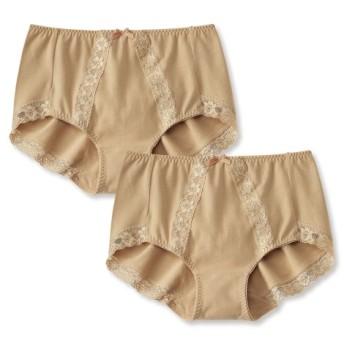 綿混ストレッチレーシーショーツ2枚組 スタンダードショーツ,Panties