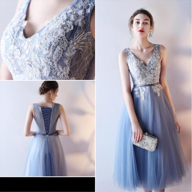 2559c2284eef1 ドレス - パーティードレス通販 Precious Lady パーティードレス ブルー 刺繍 花柄 チュチュ ノースリーブ ミディアム
