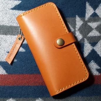 再販☆iPhone X / XS シンプル手帳型ケース ☆栃木レザー ブラウン