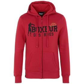 《セール開催中》BOXEUR DES RUES メンズ スウェットシャツ レッド S コットン 80% / ポリエステル 20% HOODED FZIP SWEATSHIRT WITH FRONT BIG LOGO