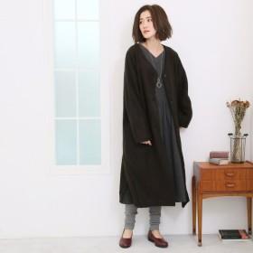 コート レディース ナチュラルな素材感 スライバーニットコート 「ブラック」