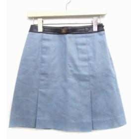 【中古】バーバリーブルーレーベル BURBERRY BLUE LABEL スカート ミニ ボックスプリーツ 台形  36 水色 /ES レディース