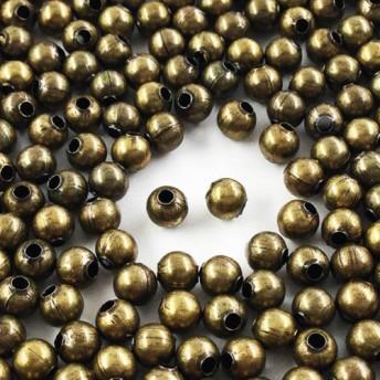 送料無料 メタルビーズ 4mm 丸 500個 金古美 アンティークゴールド スペーサー メタルパーツ AP0705