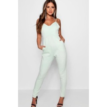 ロンパース 小さいサイズ レディース【Boohoo Petite Strappy Cigarette Trouser Jumpsuit】mint