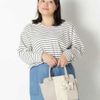 【大きいサイズレディース】バイカラーデザインハンドバッグ(ツイリー) バッグ・財布・小物入れ ショルダーバッグ