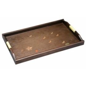 木製富士脇取盆 花と蝶 51cm 2450042