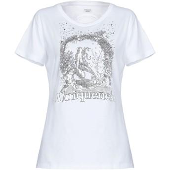 《セール開催中》PINKO UNIQUENESS レディース T シャツ ホワイト XS コットン 100% / ガラス / アルミニウム / 真鍮/ブラス