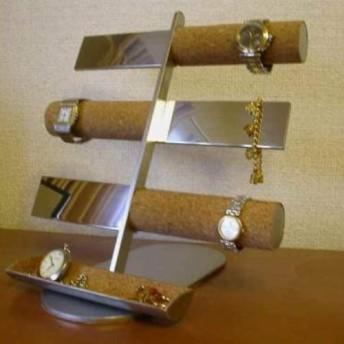 腕時計スタンド 12本掛けコルク&バー腕時計&トレイ付きアクセサリースタンド No. IMG161