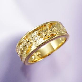 ダイヤモンド黄金双龍リング