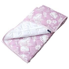 敷きパッド 夢屋(Yumeya) ベットパッド・敷きパッド モンステラ ピンク ダブル