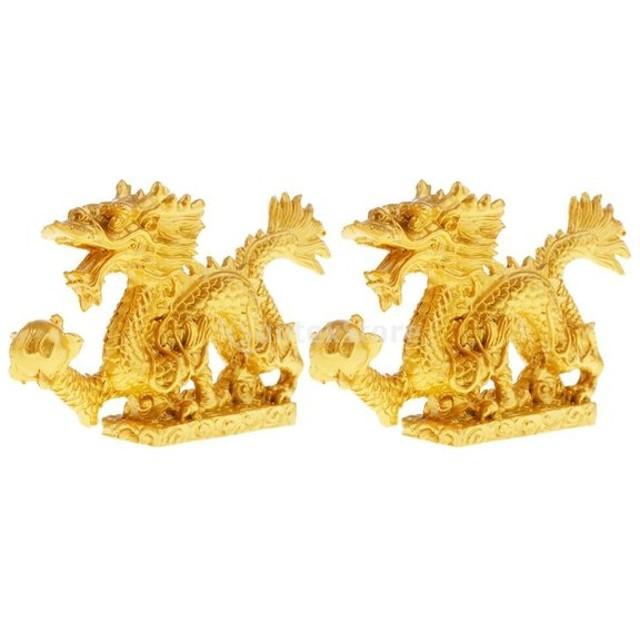 中国 十二像 龍の像 力、貴族、名誉、運と成功の象徴 素敵な 贈り物 金 2個セット