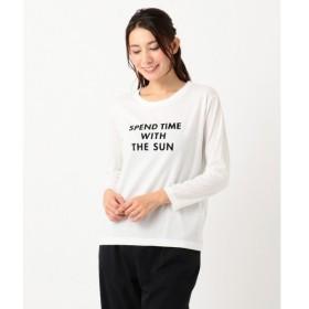 any FAM / エニィファム フロッキープリント長袖 ロゴTシャツ