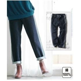 パンツ 大きいサイズ レディース 綿100% サイド切替クロップド デニム ゆったり ヒップ  ウエスト73〜122cm ニッセン