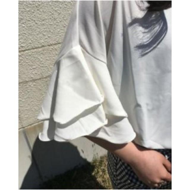 ホワイト M 半袖 フリル 袖 ラウンドネック トップス